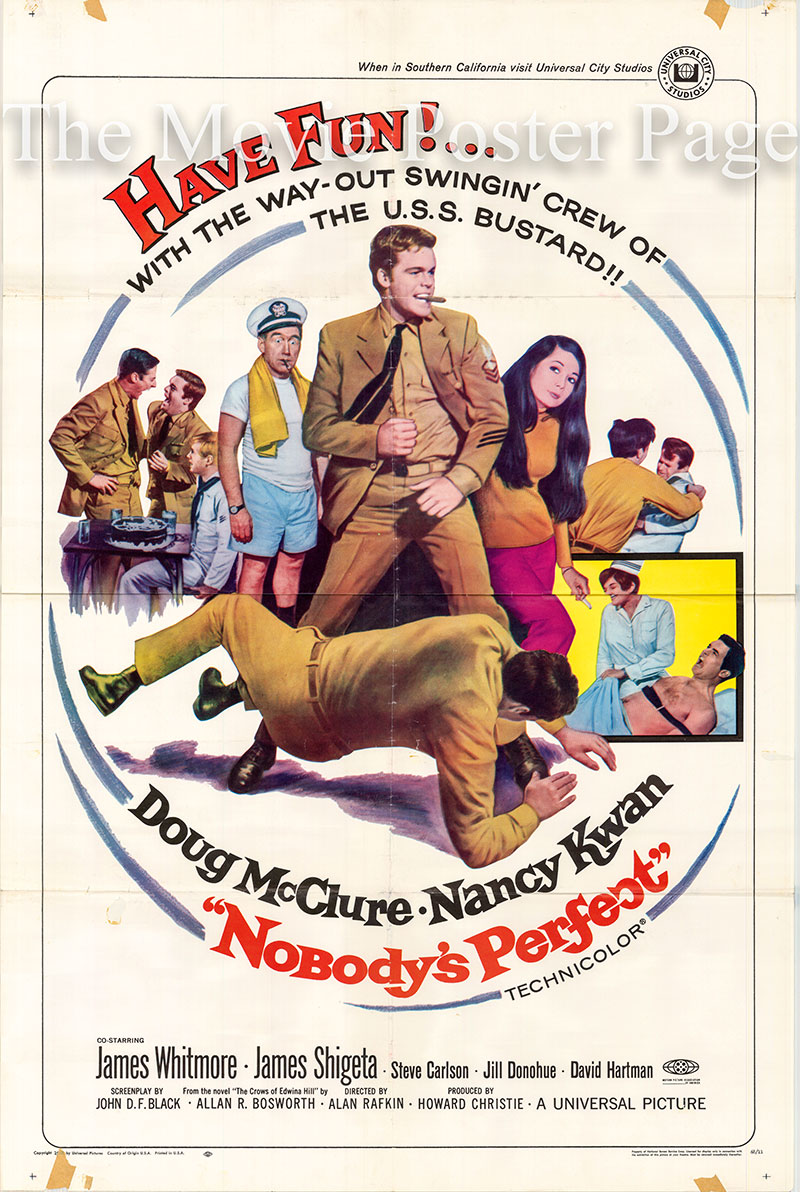 Pictured is a US one-sheet poster for the 1968  Alan Rafkin film Nobody's Perfect starring Doug McClure.