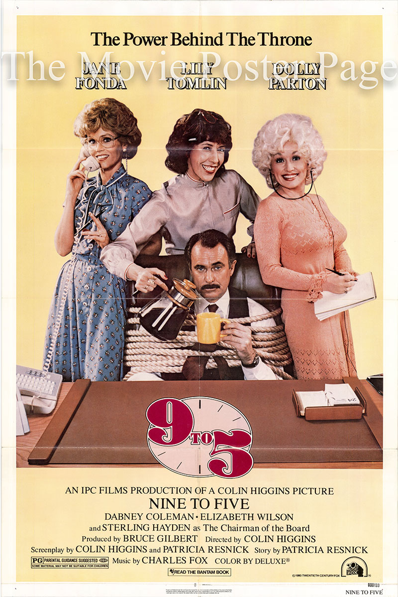 Pictured is a US one-sheet poster for the 1980 Colin Higgins film Nine to Five starring Dolly Parton.