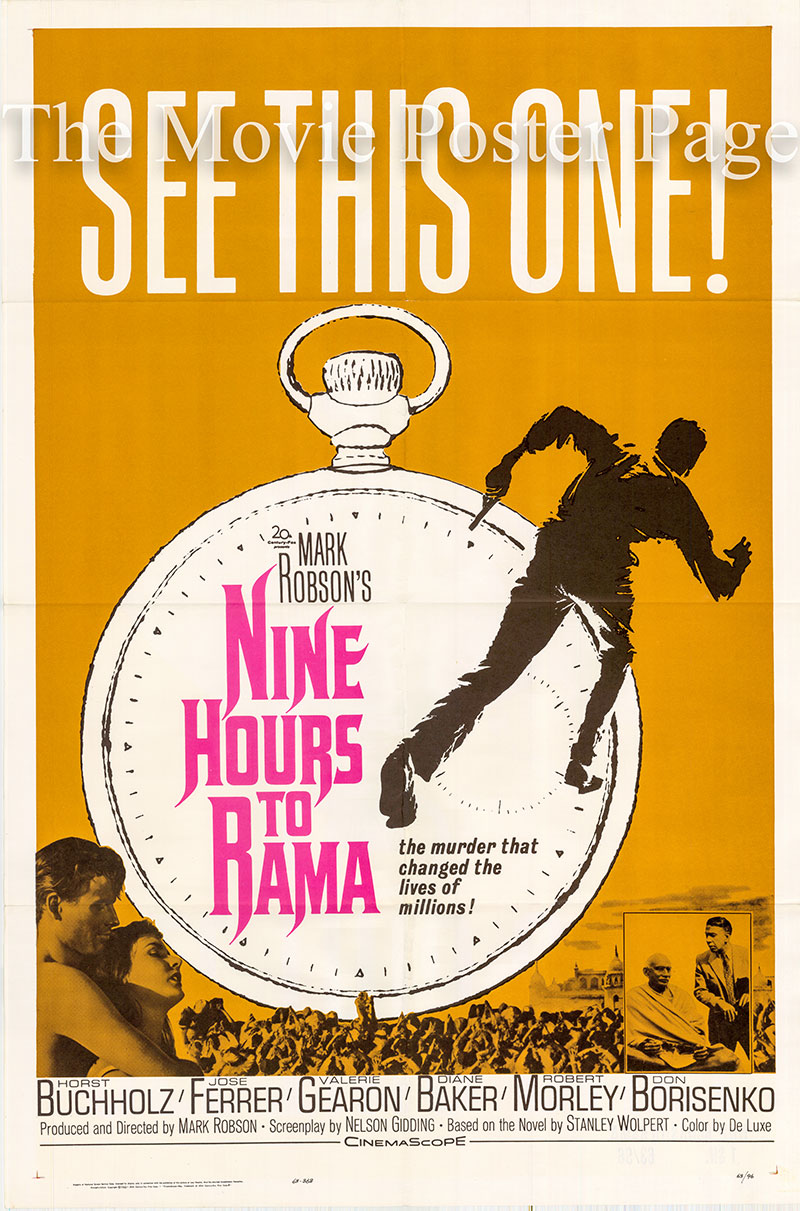 Pictured is a US one-sheet poster for the 1963 Mark Robson film Nine Hours to Rama starring Jose Ferrer.