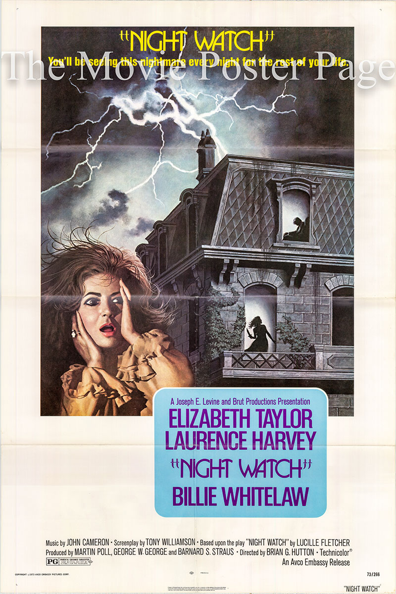 Pictured is a US promotional poster for the 1973 Brian G. Hutton film Night Watch starring Elizabeth Taylor.