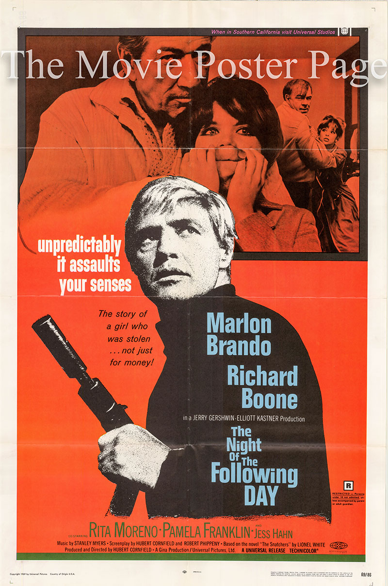 Pictured is a US one-sheet promotional poster for the 1968 Hubert Cornfield film The Night of the Following Day starring Marlon Brando.