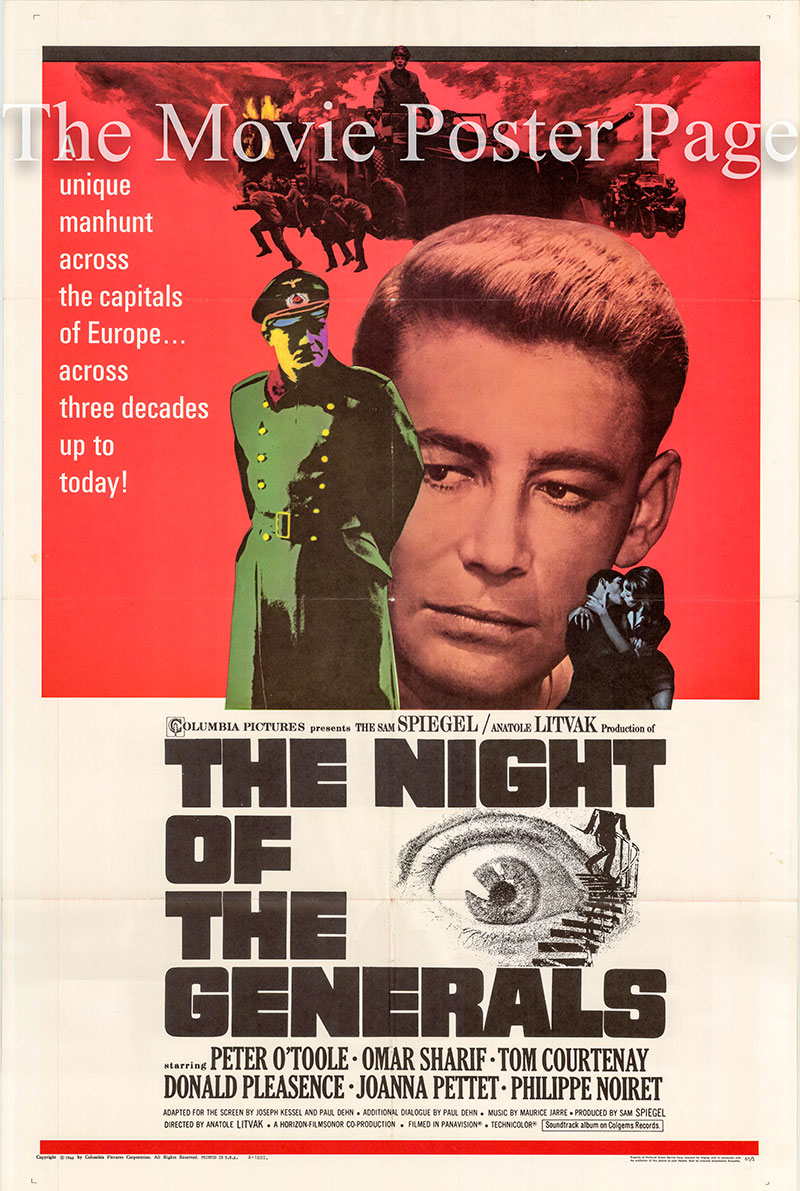 Pictured is a US one-sheet poster for the 1967 Anatole Litvak film The Night of the Generals starring Peter O'Toole.