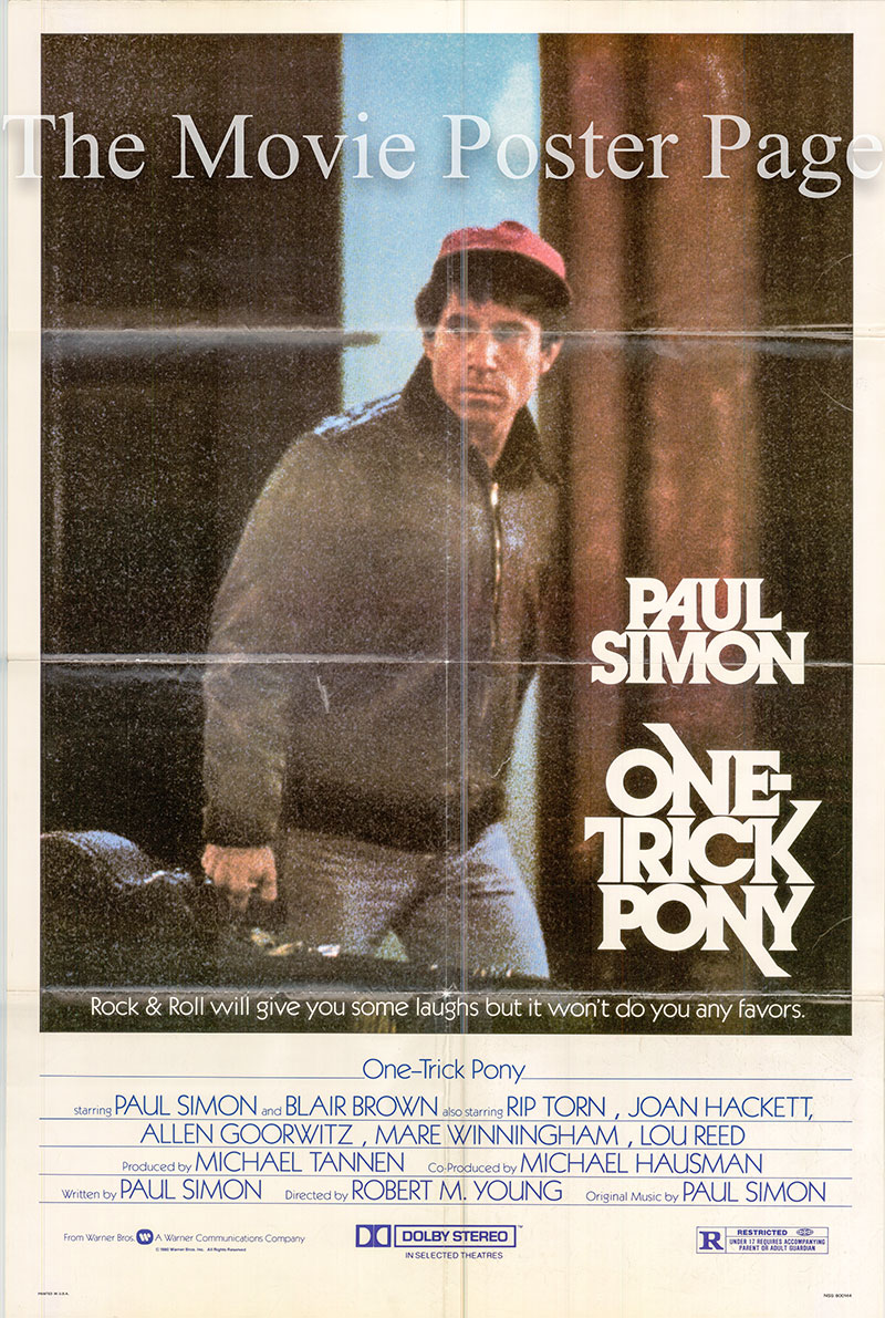 Pictured is a US one-sheet poster for the 1980 Paul Simon film One-Trick Pony starring Paul Simon.