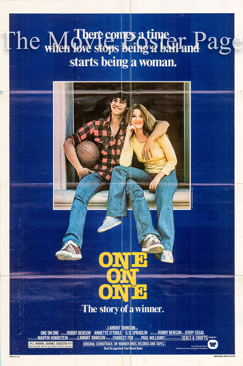 Pictured is a US one-sheet poster for the 1977 Lamont Johnson film One on One starring Robby Benson.