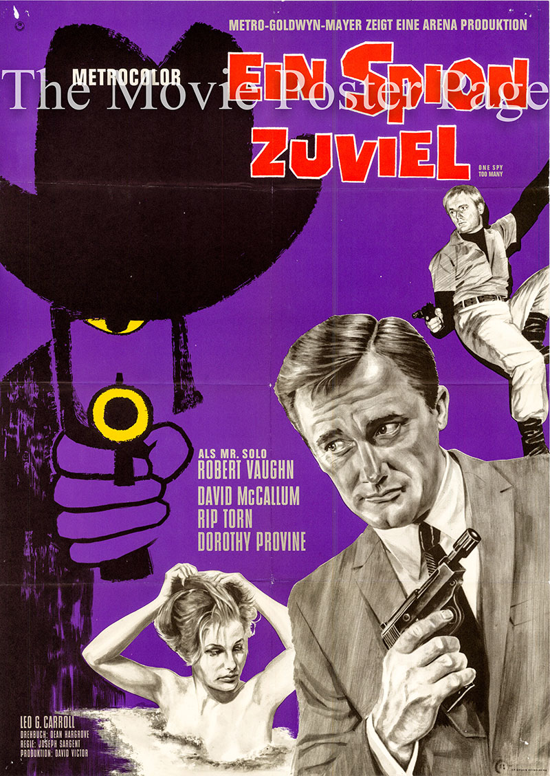 Pictured is a German one-sheet poster for the 1966 Joseph Sargent film One Spy Too Many starring Robert Vaughn.