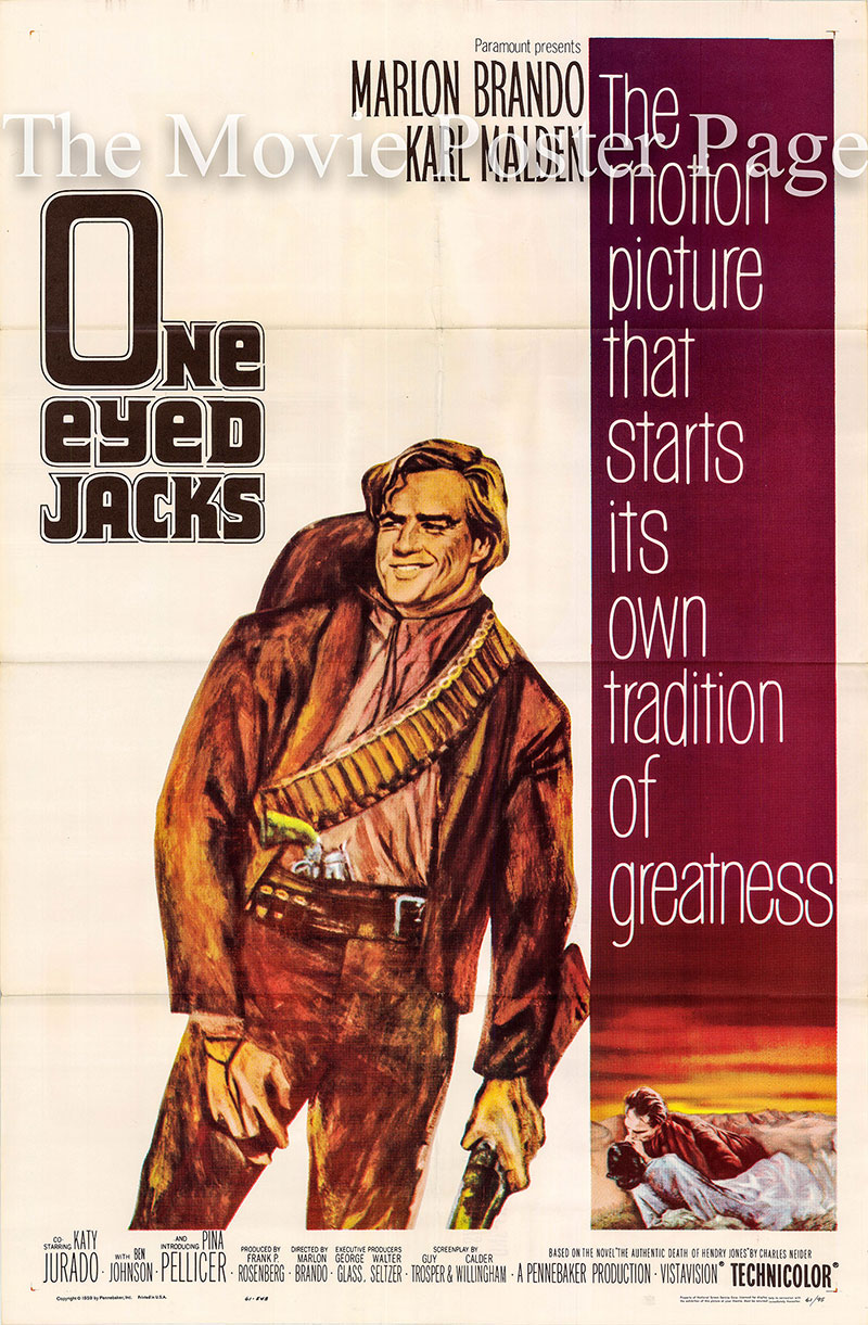 Pictured is a US promotional one-sheet poster for the 1961 Marlon Brando film One-Eyed Jacks starring Marlon BGrando and Karl Malden.