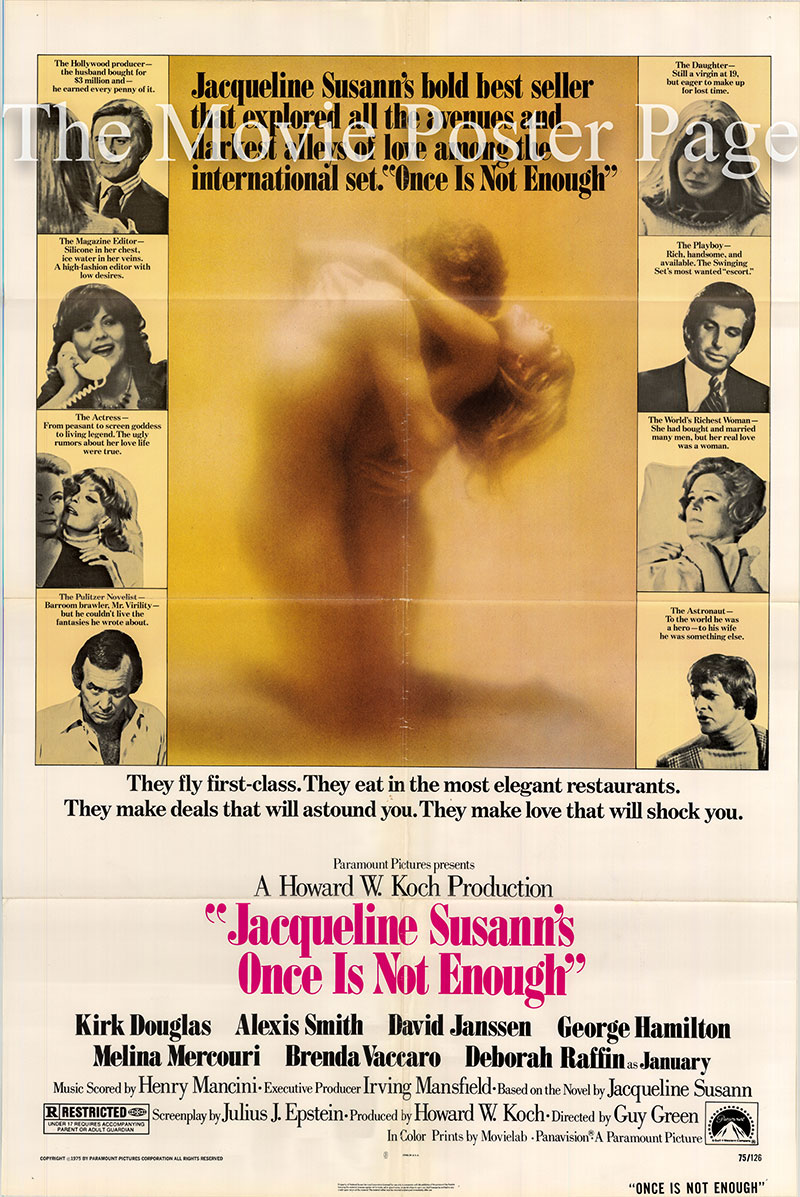Pictured is a US one-sheet poster for the 1975 Guy Green film Once is Not Enough starring Kirk Douglas.