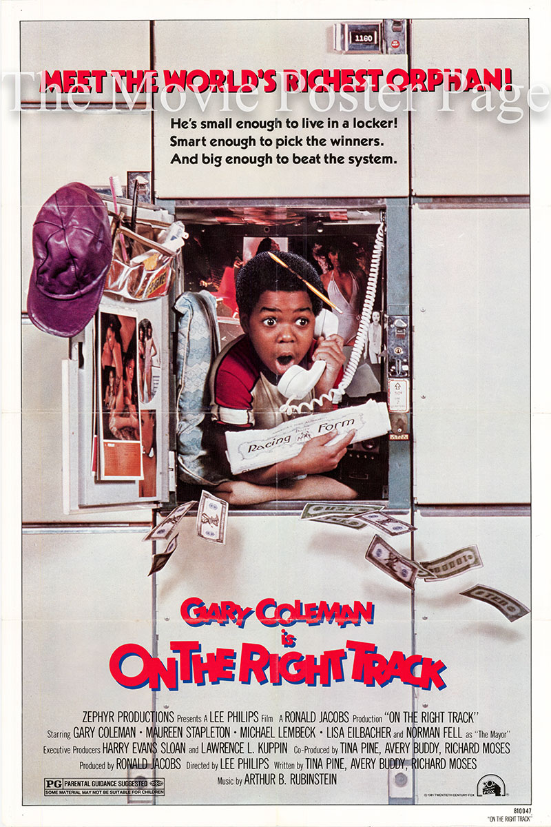 Pictured is a US one-sheet poster for the 1981 Lee Philips film On the Right Track starring Gary Coleman.