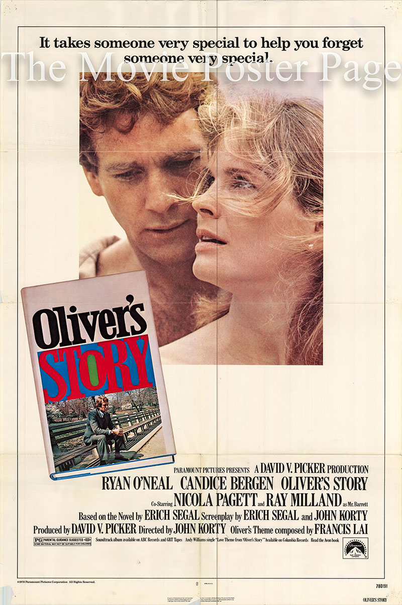 Pictured is a US one-sheet poster for the 1978 John Korty film Oliver's Story starrin Ryan O'Neal.