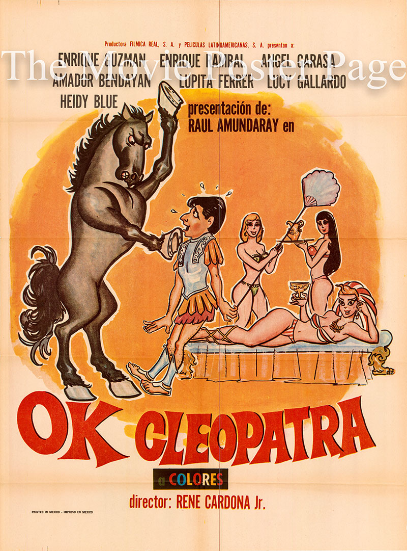 Pictured is a US promotional poster for the 1971 Rene Cardona Jr. film OK Cleopatra starring Enrique Guzman.