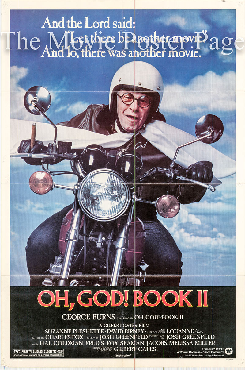 Pictured is a US one-sheet poster for the 1980 Gilbert Cates film Oh God! Book II starring George Burns.