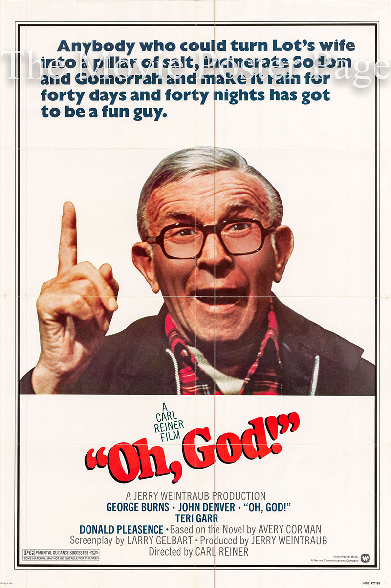 Pictured is a US one-sheet poster for the 1977 Carl Reiner film Oh, God! starring George Burns.