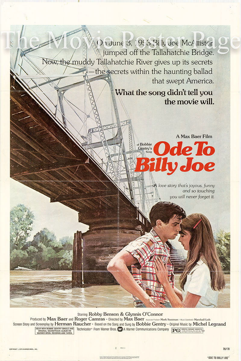 Pictured is a US promotional poster for the 1976 Max Baer film Ode to Billy Joe starring Robby Benson as Billy Joe McAllister.