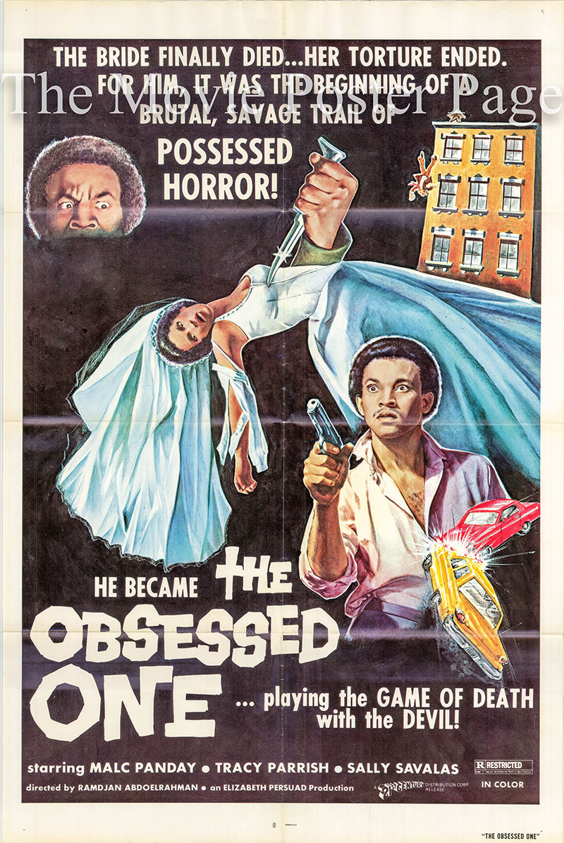 Pictured is a US one-sheet for the 1974 Ramdjan Abdoelrahman film The Obsessed One starring Malc Panday.
