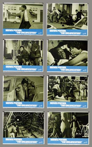 Pictured is a US lobby card set for the 1971 Don Medford film The Organization starring Sidney Poitier as Virgil Tibbs.
