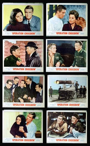 Pictured is a US lobby card set for the 1965 Michael Anderson film Operation Crossbow starring Sophia Loren as Nora Van Ostamgen.