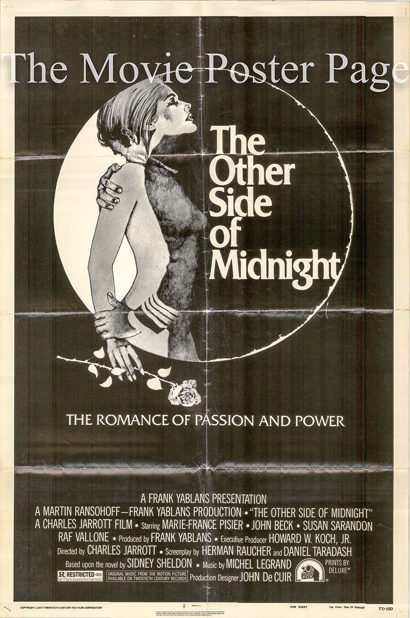 Pictured is a US one-sheet poster for the 1977 Charles Jarrott film The Other Side of Midnight starring Marie-France Pisier as Noelle Page.