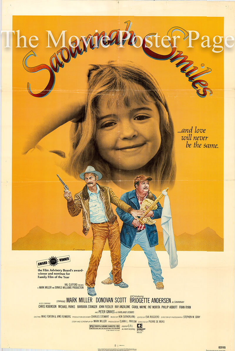 Pictured is a US one-sheet poster for the 1982 Pierre De Moro film Savannah Smiles starring Bridgette Andersen as Savannah Driscoll.