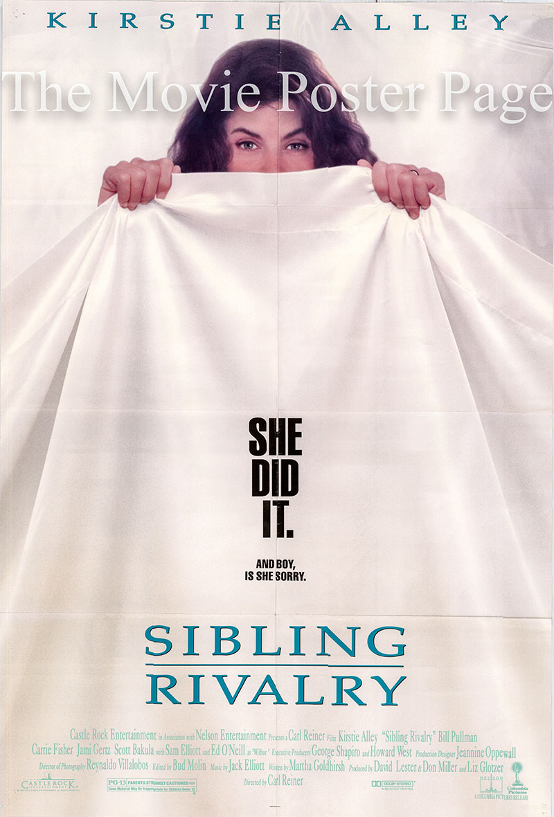 Pictured is a US one-sheet poster for the 1990 Carl Reiner film Sibling Rivalry starring Kirstie Alley as Marjorie Turner.