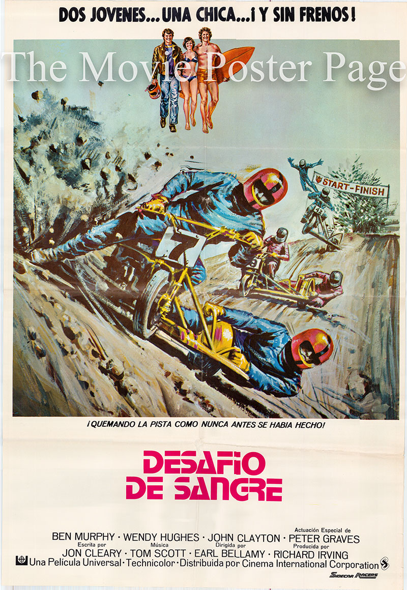 Pictured is a Spanish one-sheet poster for the 1975 Earl Bellamy film Sidecar Racers starring Ben Murphy as Jeff Rayburn.