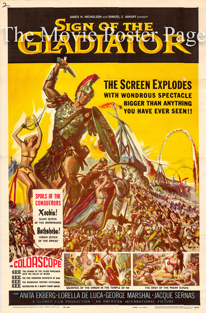 Pictured is a US one-sheet poster for the 1959 Guido Brignone film Sign ofthe Gladiator starring Anita Ekberg as Zenobia.