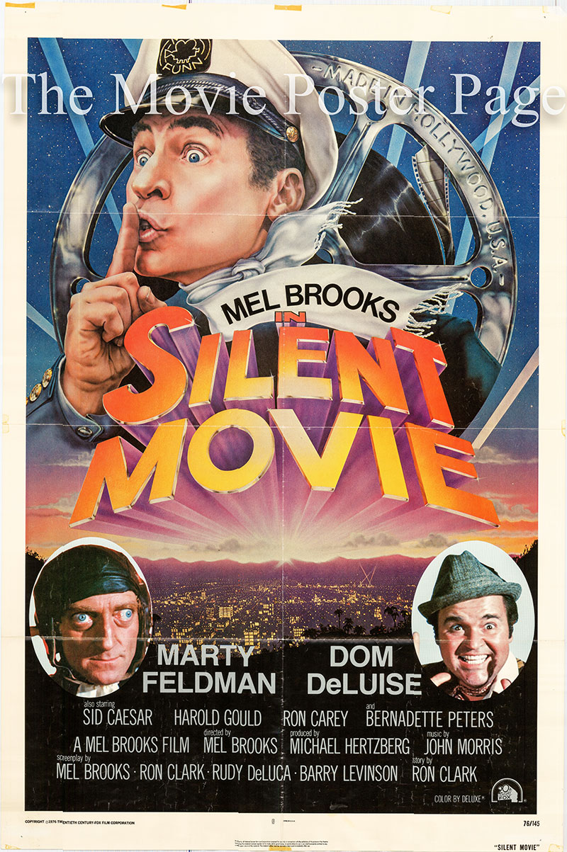 Pictured is a US one-sheet movie poster for the 1976 Mel Brooks film Silent Movie starring Mel Brooks as Mel Funn.