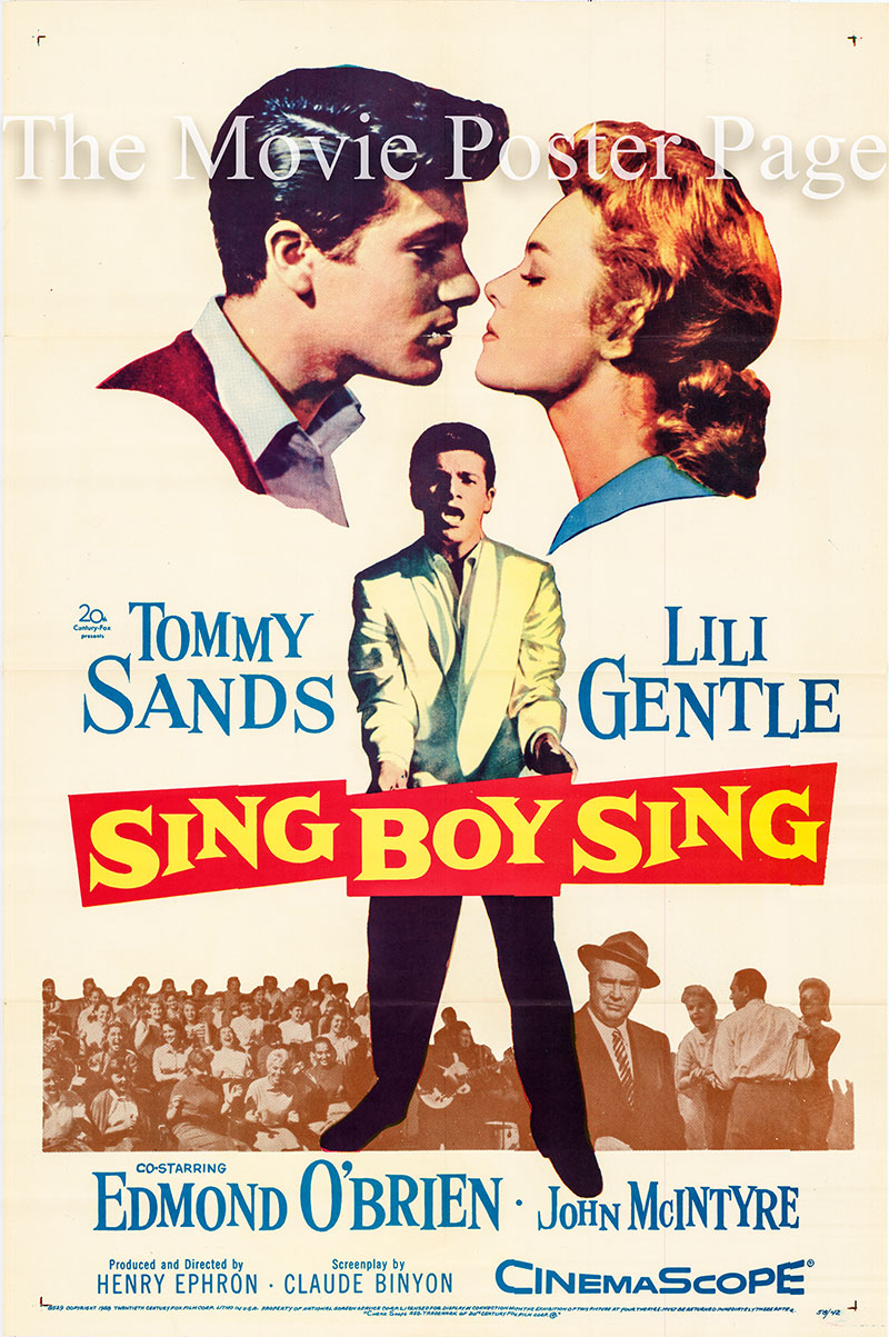Pictured is the a US one-sheet poster for the 1958 Henry Ephron film Sing Boy Sing starring Tommy Sands as Virgil Walker.