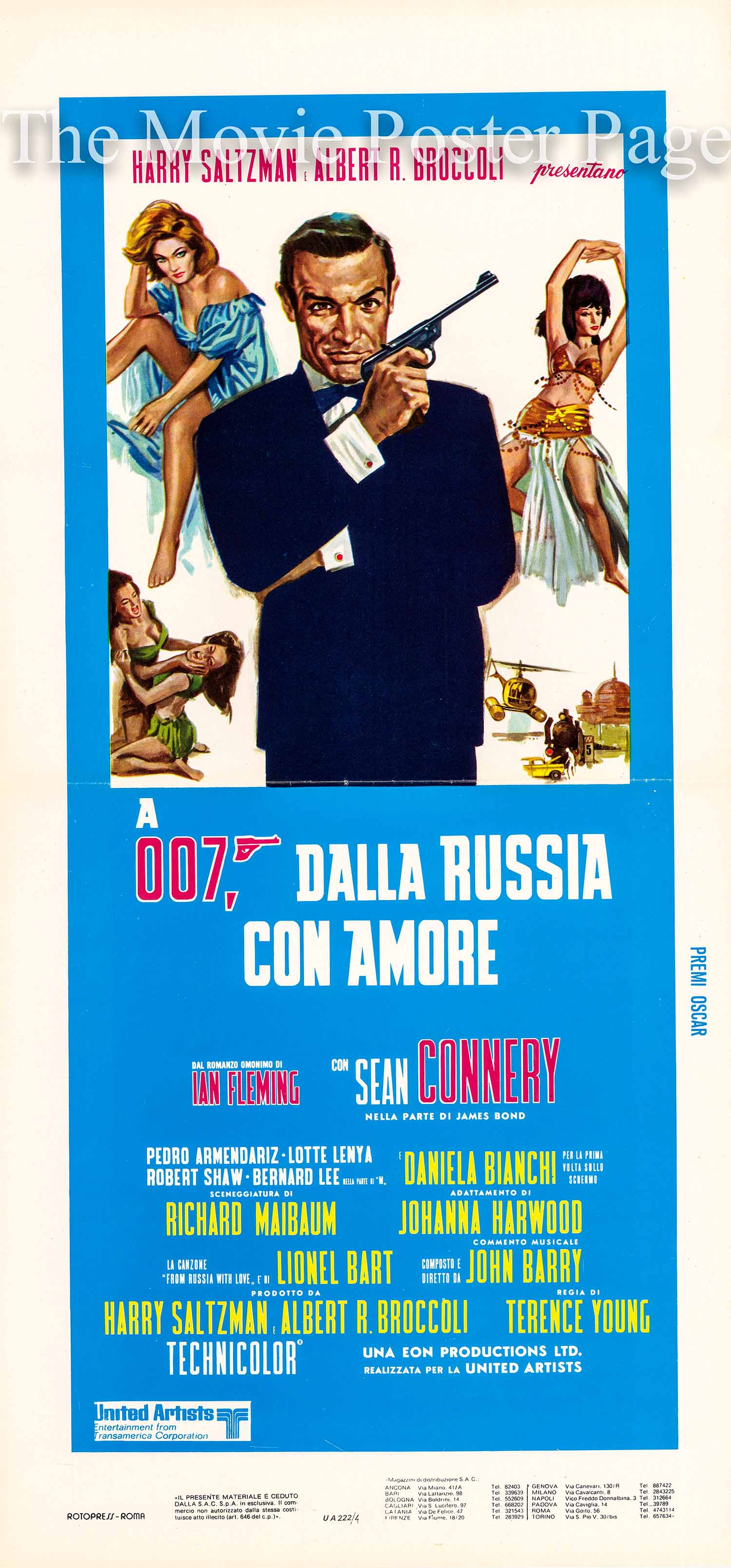 Pictured is an Italian locandina promotional poster for a 1967 rerelease of the 1963 Terence Young film From Russia with Love starring Sean Connery.