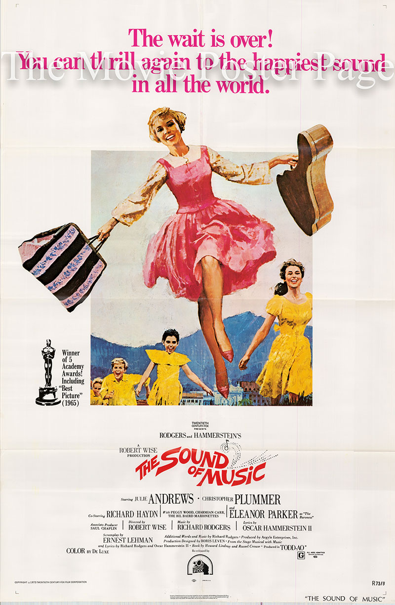 Pictured is a US one-sheet poster for a 1973 rerelease of the 1965 Robert Wise film The Sound of Music starring Julie Andrews as Maria.