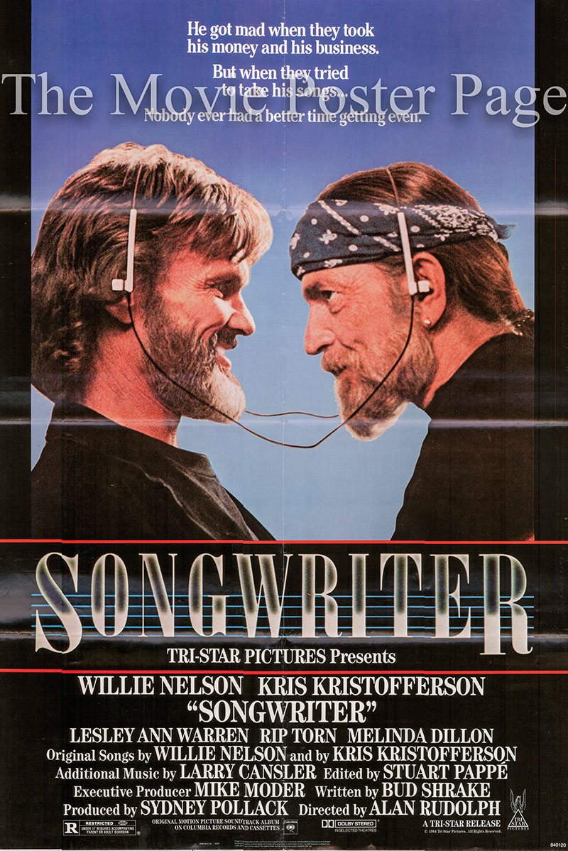 Pictured is a US one-sheet poster for the 1984 Alan Rudolph film Songwriter starring Willie Nelson as Doc Jenkins.