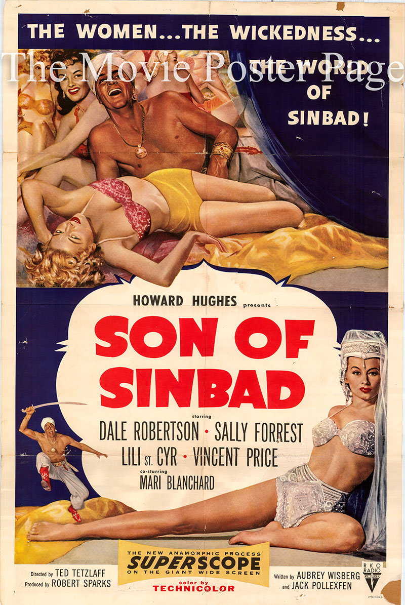 Pictured is a US promotional one-sheet poster for the 1955 Ted Tetzlaff film Son of Sinbad starring Dale Robertson.