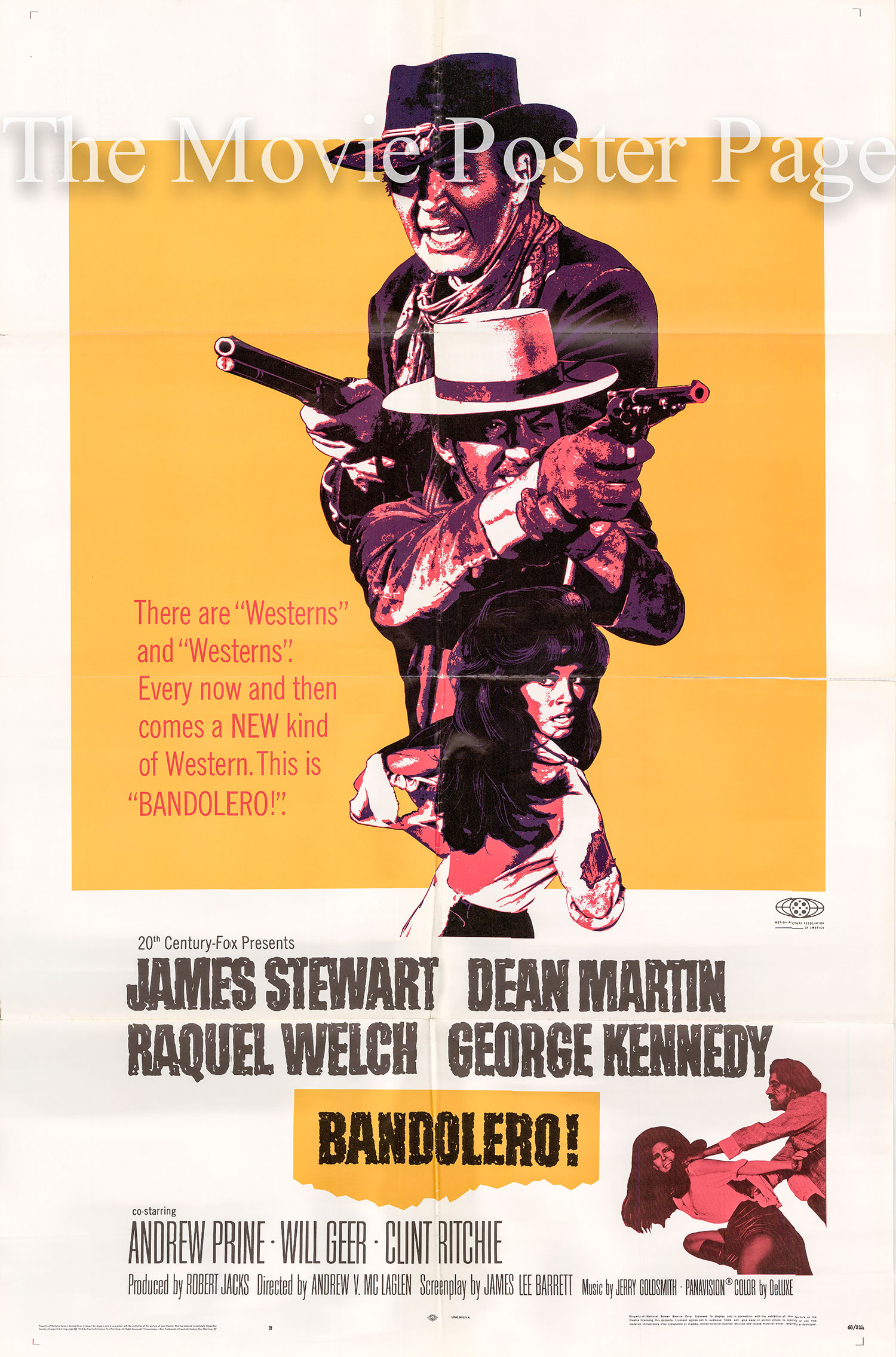 Pictured is a US one-sheet poster for the 1968 Andrew V. McLaglen film Bandolero starring James Stewart and Dean Martin.