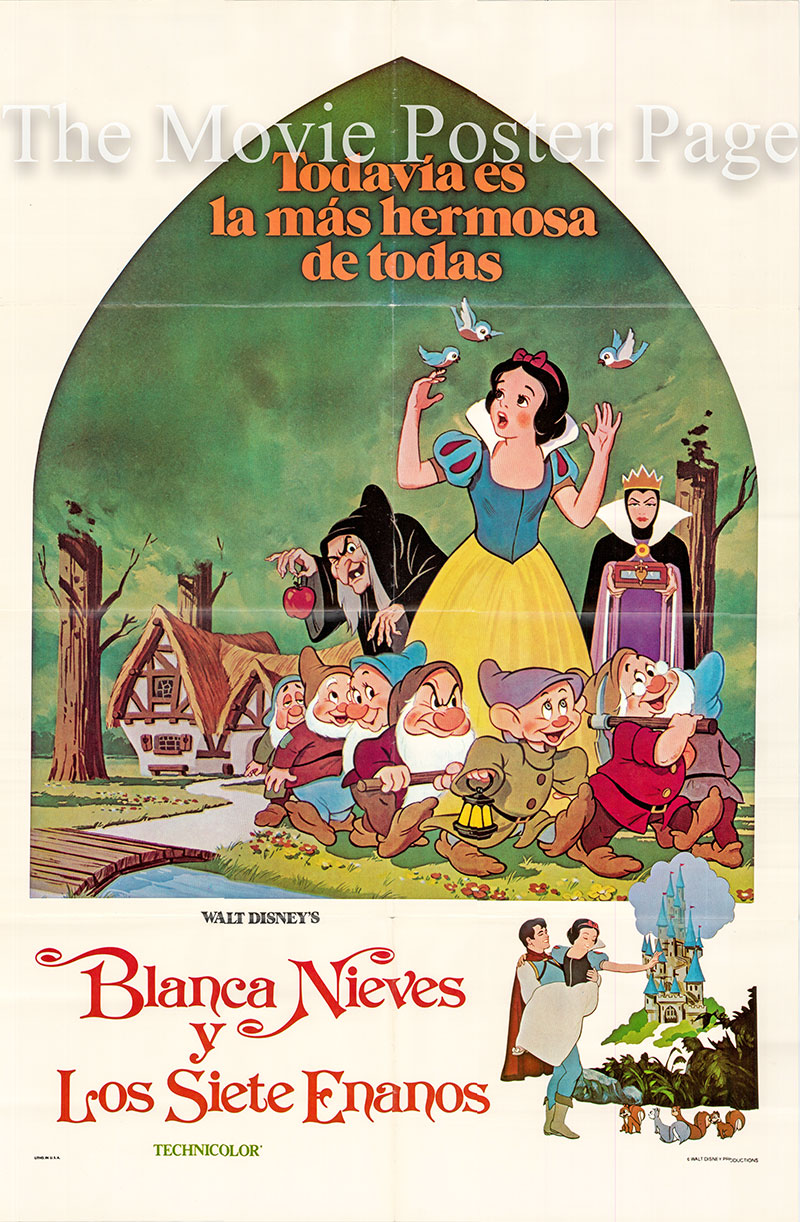 Pictured is a Spanish one-sheet poster for a 1987 rerelease of the 1937 William Cottrell and David Hand Disney animation film Snow White and the Seven Dwarfs starring Adrianna Caselotti as the voice of Snow White.