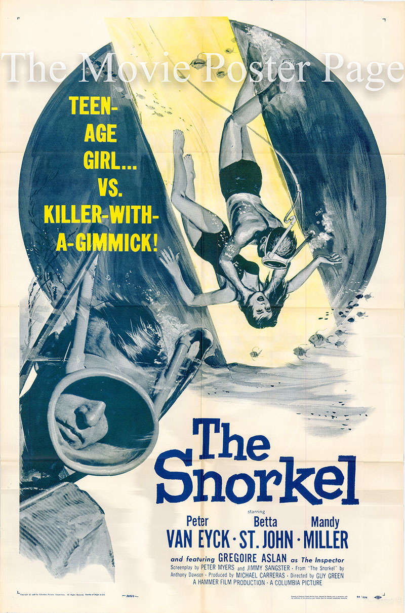 Pictured is a US one-sheet poster for the 1958 Guy Green film The Snorkel starring Peter van Eyck Paul Decker.
