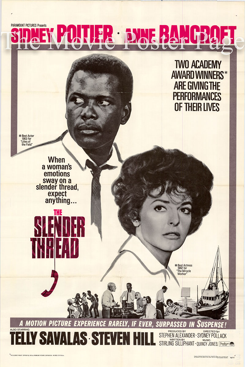 Pictured is a US promotional poster for the 1966 Sydney Pollack film The Slender Thread starring Sydney Poitier.