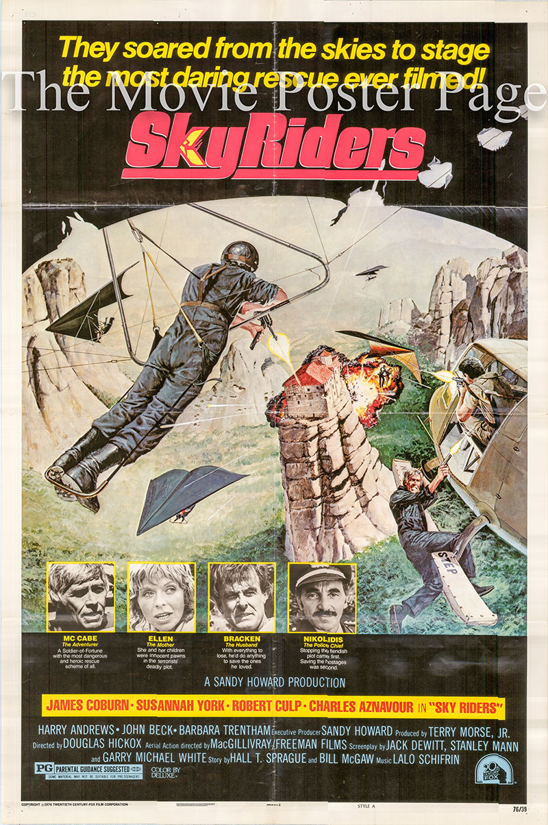 Pictured is a US one-sheet poster for the 1976 Douglas Hickox film Sky Riders starring James Coburn as Jim McCabe.