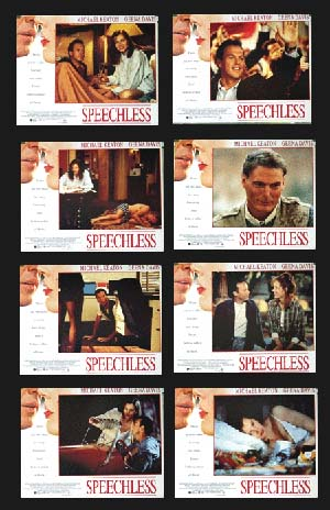 Pictured is a US lobby card set for the 1994 Ron Underwood film Speechless starring Michael Keaton as Kevin Vallick.