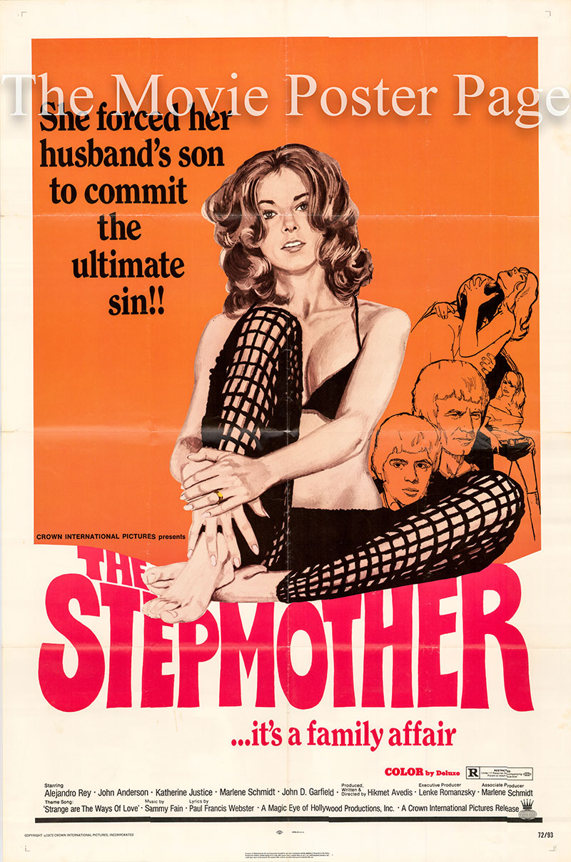 Pictured is a US one-sheet poster for the 1972 Howard Avedis film The Stepmother starring Alejandro Rey as Frank Delgado.