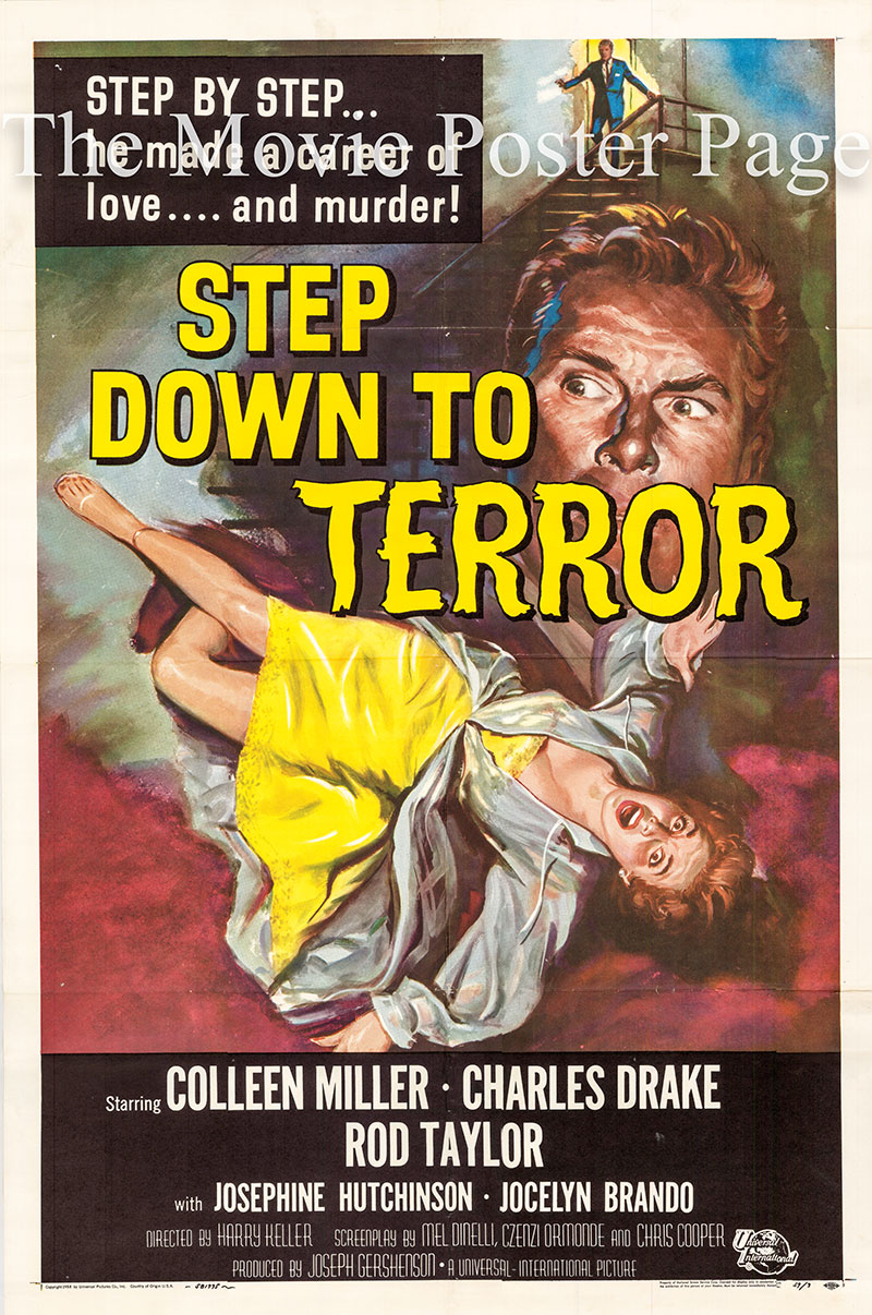 Pictured is a US one-sheet poster for the 1958 Harry Keller film Step Down to Terror starring Colleen Miller as Helen Walters.