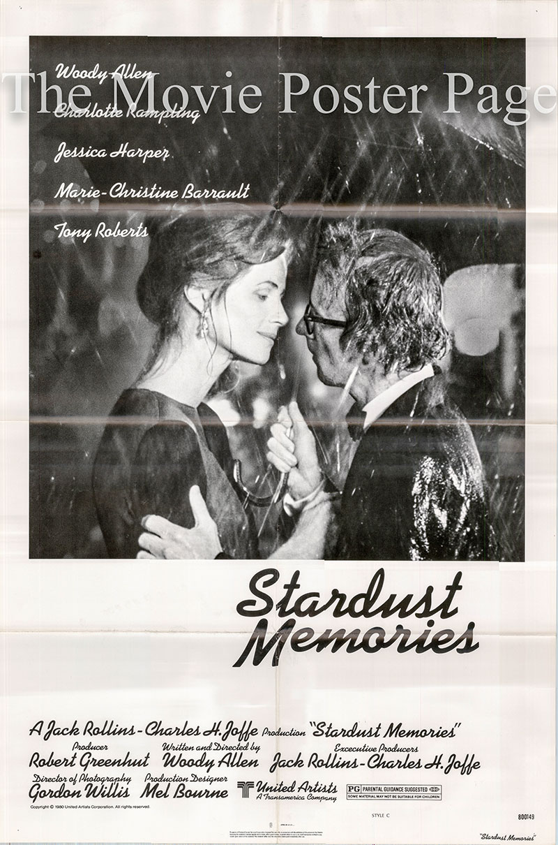 Pictured is a US one-sheet poster for the 1980 Woody Allen film Stardust Memories starring Woody Allen as Sandy Bates.