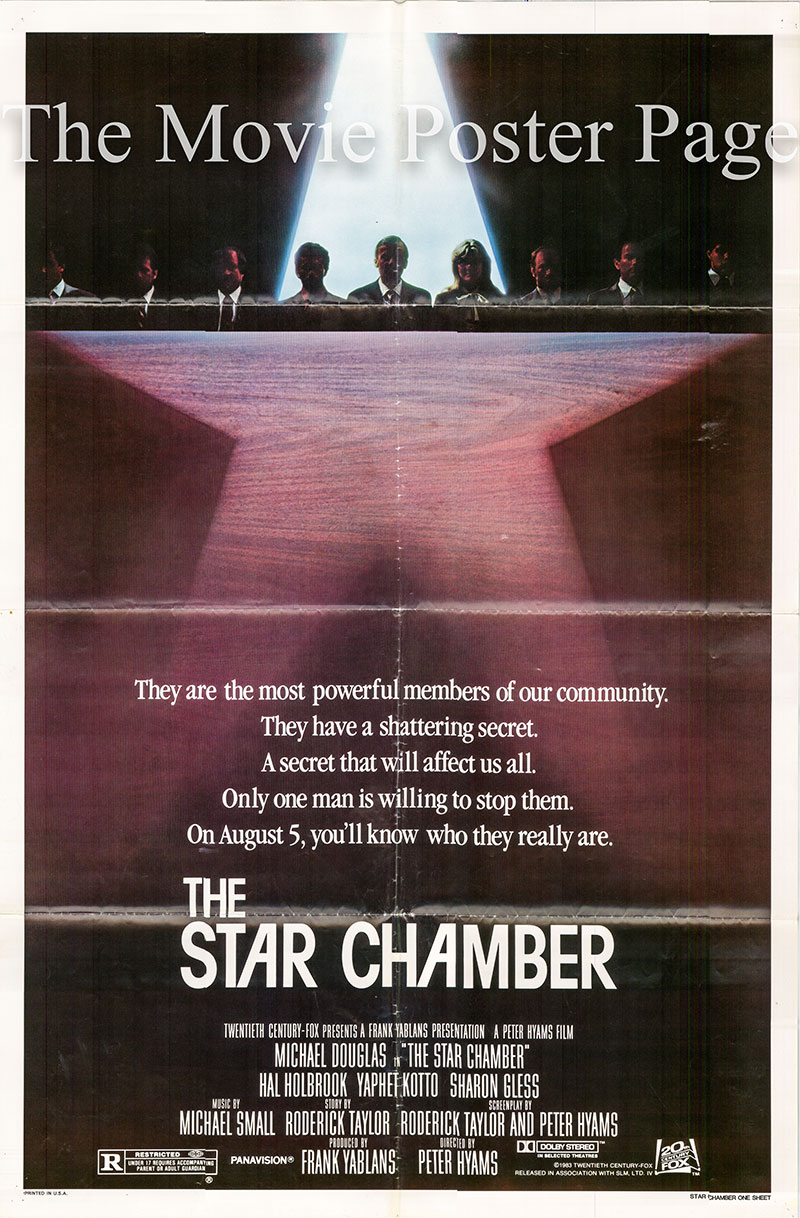 Pictured is a US one-sheet poster for the 1983 Peter Hyams film Star Chamber starring Michael Douglas as Superior Court Judge Steven R. Hardin.
