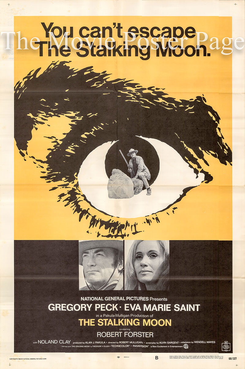 Pictured is a US one-sheet poster for the 1968 Robert Mulligan film Stalking Moon starring Gregory Peck as Sam Varner.