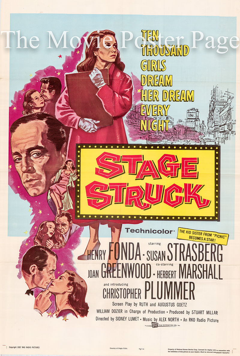 Pictured is a US one-sheet poster for the 1958 Sidney Lumet film Stage Struck starring Henry Fonda as Lewis Easton.