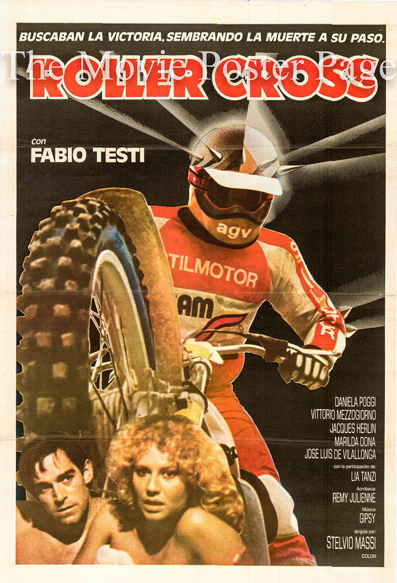 Pictured is an Argentine one-sheet poster for the 1980 Stelvio Massi film Speed Cross starring Fabio Testi as Paolo.