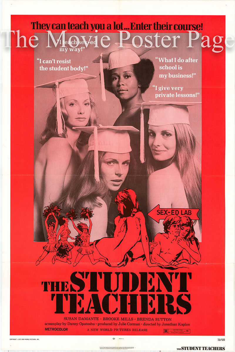 Pictured is a US one-sheet poster for the 1973 Jonathan Kaplan film The Student Teachers starring Susan Damante as Rachel Burton.