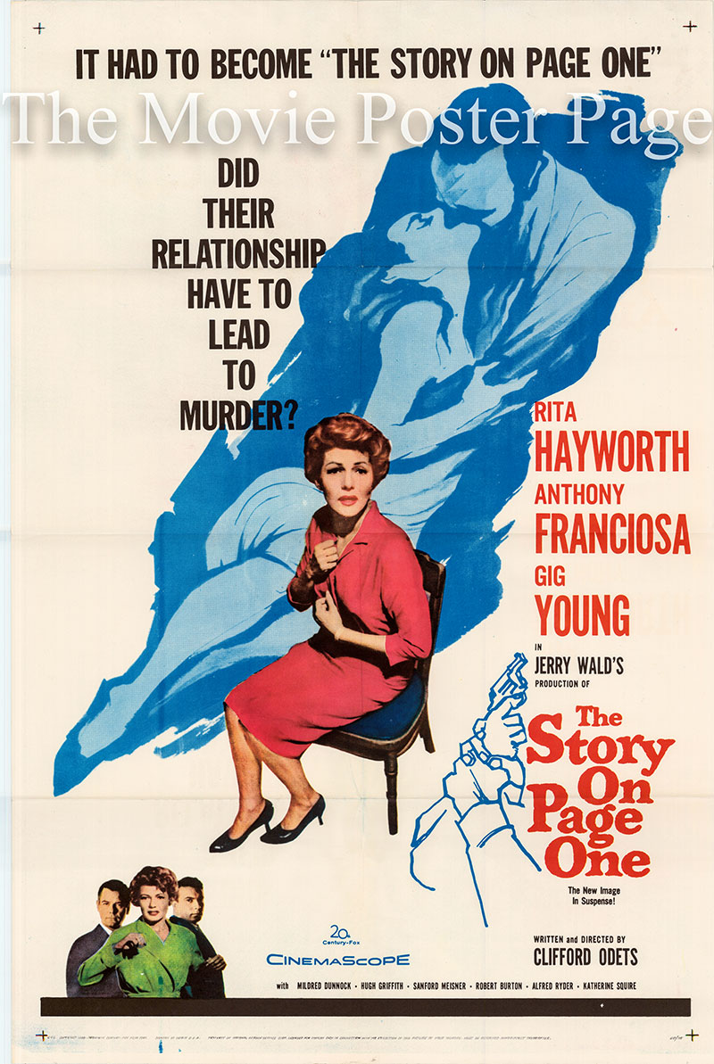 Pictured is a US one-sheet poster for the 1959 Clifford Odets film The Story on Page One starring Rita Hayworth as Josephine Brown / Jo Morris.