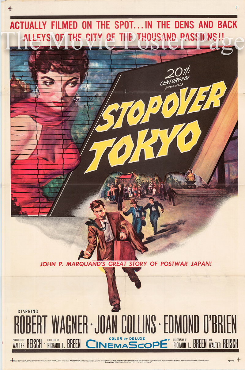 Pictured is a US one-sheet poster for the 1957 Richard L. Breen film Stopover Tokyo starring Robert Wagner as Mark Fannon.