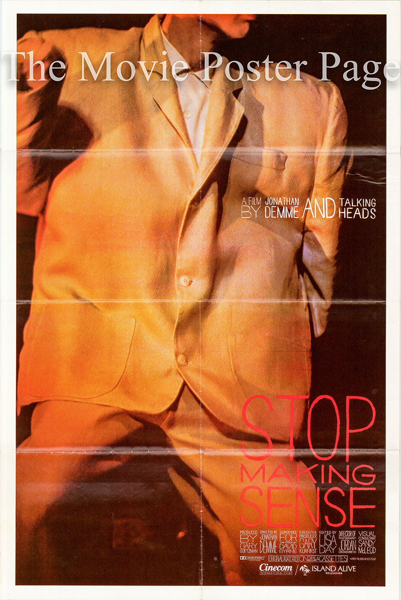 Pictured is a US one-sheet poster for the 1984 Jonathan Demme film Stop Making Sense starring David Byrne as himself on guitar and vocals.
