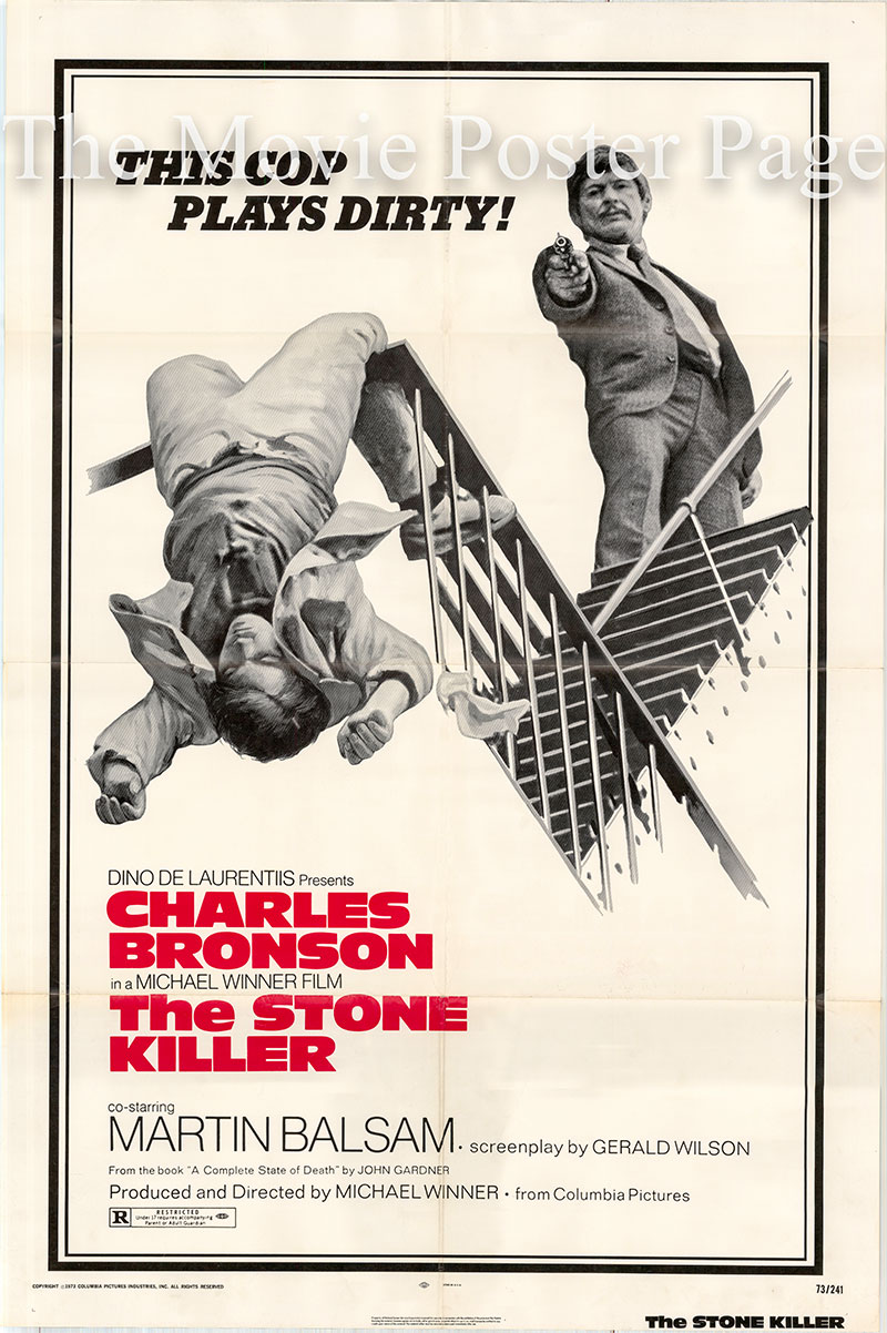 Pictured is a US one-sheet poster for the 1973 Michael Winner film The Stone Killer starring Charles Bronson as Lou Torrey.