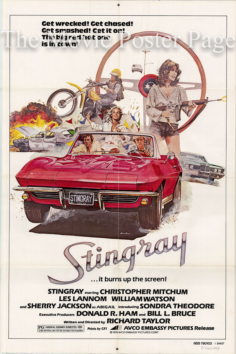 Pictured is a US one-sheet poster for the 1978 Richard Taylor film Stingray starring Christopher Mitchum as Al.